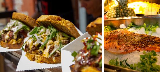 Foodkreationen von einem Truck beim Street Food Market Festival